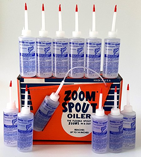 Zoom SPOUT Oilers - 4 OZ Clear White Lubricant Oil Pack of 12 Made in The U.S.A.