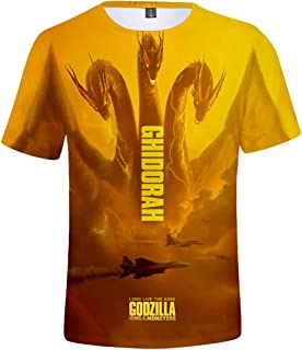 Mens Novelty 3D Shirts with Godzilla 2 King of Monsters Printed Hooded Pullover Top Tee Unisex