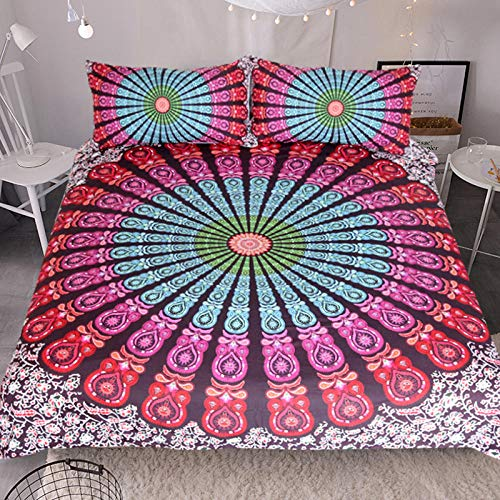 JNBGYAPS 3D Effect Printed duvet cover Colorful sun flower Bedding set with Pillocases (with Zipper Closure) Soft Microfiber Quilt Cover Single 135X200cm