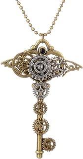 Collar Colgante de Forma Llave de Corazón con Engranaje Color Oro Antiguo Estilo Retro Steampunk