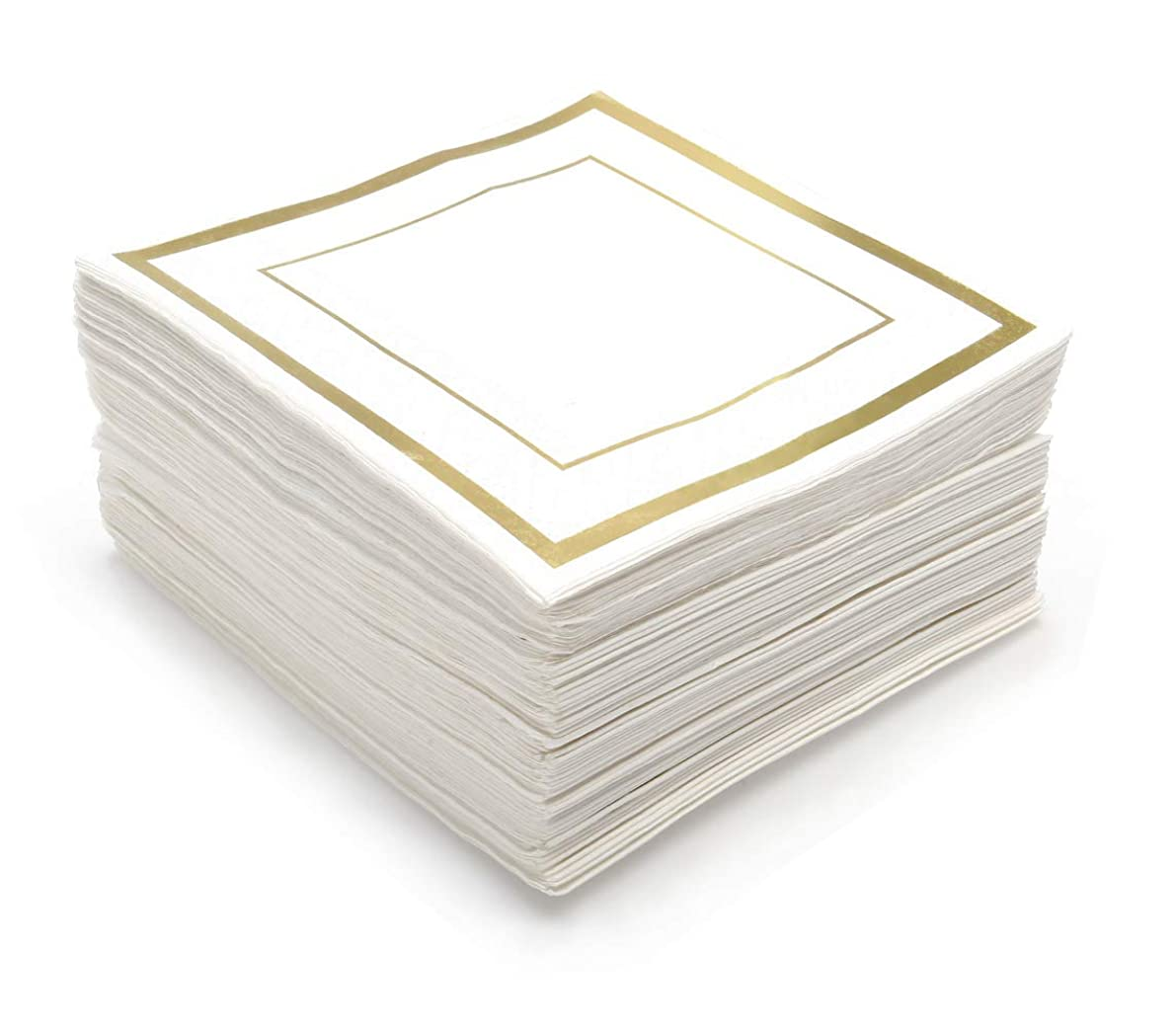 GLAM Cocktail Napkins, Gold Trim - 100 Pack | 5-Inches by 5-Inches Wedding Napkins, Paper | 5x5 Gold Napkins, Disposable | Party Napkins, White and Gold | Beverage Napkins, Gold Rim
