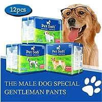 Pet Soft Disposable Male Wrap Dog Diaper, 12pcs, M