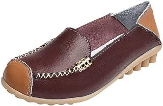 FORUU Women Casual Flat Soft Bottom Outdoor Comfortable Slip On Peas Boat Shoes
