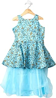 Hopscotch Girls Cotton Peplum Style Floral Printed Readymade Lehenga Choli in Blue Color
