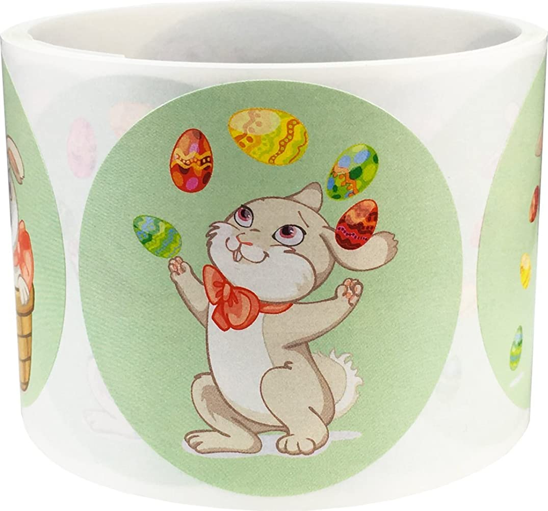 Easter Bunny Stickers 2.5 Inch Round Circle Dots 100 Adhesive Stickers