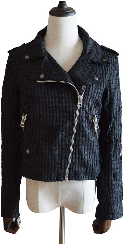 PUNK RAVE Women's Short Coat Casual Black Grid Leather Short Jacket