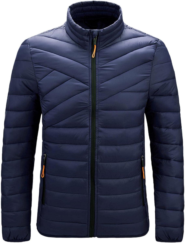 XUNFUN Men's Lightweight Warm Puffer Jacket Winter Thermal Packable Down Jackets Wind Water Resistant Hiking Coat Outwear