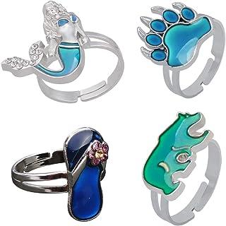 Amosfun 4 anelli regolabili per l'umore che cambiano colore, con le dita, per apertura e apertura, per ragazze e ragazzi, ...