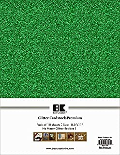 Best Creation A4 Glitter Cardstock, Green, 10 Piece