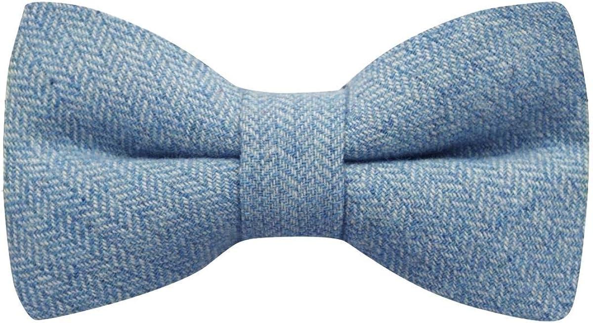 Sky Blue Herringbone Bow Tie