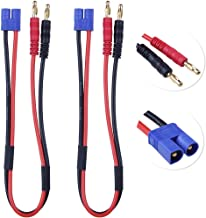 Hobbypark 2-Pack EC3 Connector Male to 4mm 4.0 Bullet Banana Plugs Adapter Lead 14AWG Silicone Wire Cable 11.8
