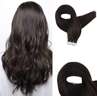 Easyouth Virgin Tape In Dark Brown Extensions 18Inch 25g Per Package Tape On Hair Extensions Human Hair Brown Tape In Hair Extensions Real Virgin Human Hair