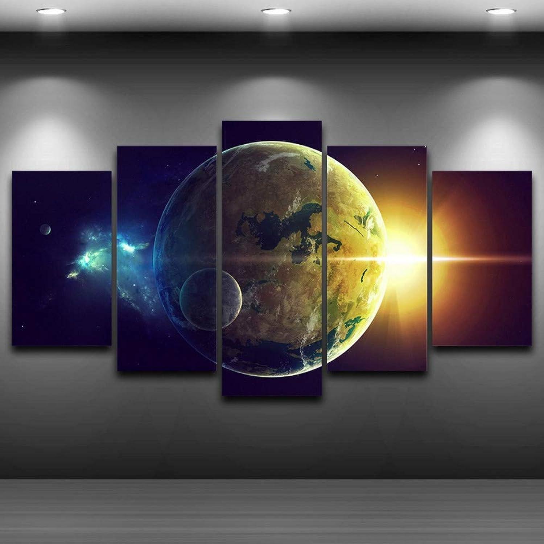 diseñador en linea Rjjdd Modern Home Wall Modular Art Decor Decor Decor 5 Unidades Planeta Tierra Paisaje Imágenes En La Lona para La Sala De Estar Marco HD Imprimir Pintura -20CMx35,with Frame  de moda