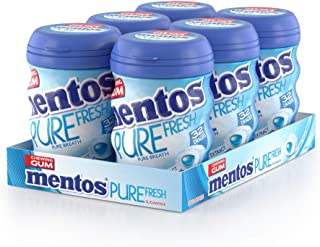 Mentos Pure Fresh Chewing Gum - Fresh Mint Flavour - Sugar Free - Great for Creating Fresh Memories - 32-piece Bottles (Multipack of 6 Bottles)