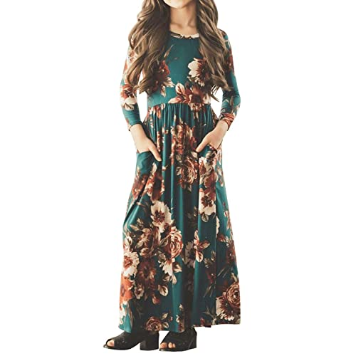 8f4b9085bf3c MITILLY Girls Flower 3 4 Sleeve Pleated Casual Swing Long Maxi Dress with  Pockets