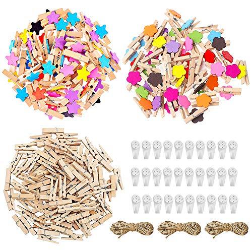 FANDE 150 Madera Pinzas, Colore Pinzas para la Ropa, con 10 m de Cuerda de Yute, para Fotos Manualidades Decoración Bricolaje y Mucho Más