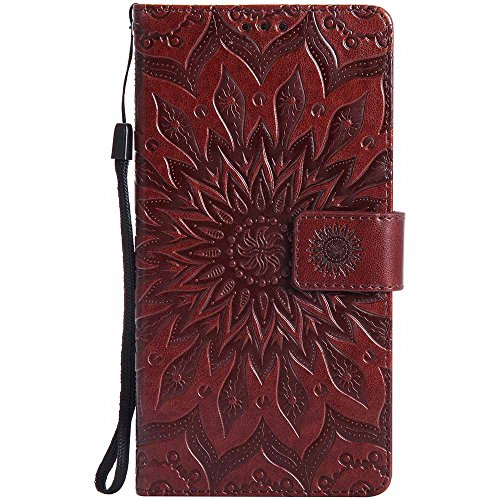 Huawei Ascend Mate 7 Case, Dfly Premium Soft PU Leather Embossed Mandala Design Kickstand Card Holder Slot Slim Flip Protective Wallet Cover for Huawei Ascend Mate 7, Brown