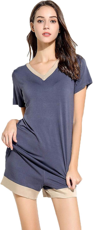 JuneBloom Women's Pajama Sets Short Sleeve Sleepwear Summer V Neck PJ Set