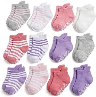 Yafane 12 pares de calcetines antideslizantes para bebé de algodón para niños y niñas