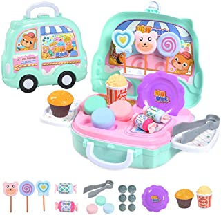 Kapmore Pretend Play Food Set Suitcase Design Simulated Makeup Set Toy Kitchen Playset for Kids