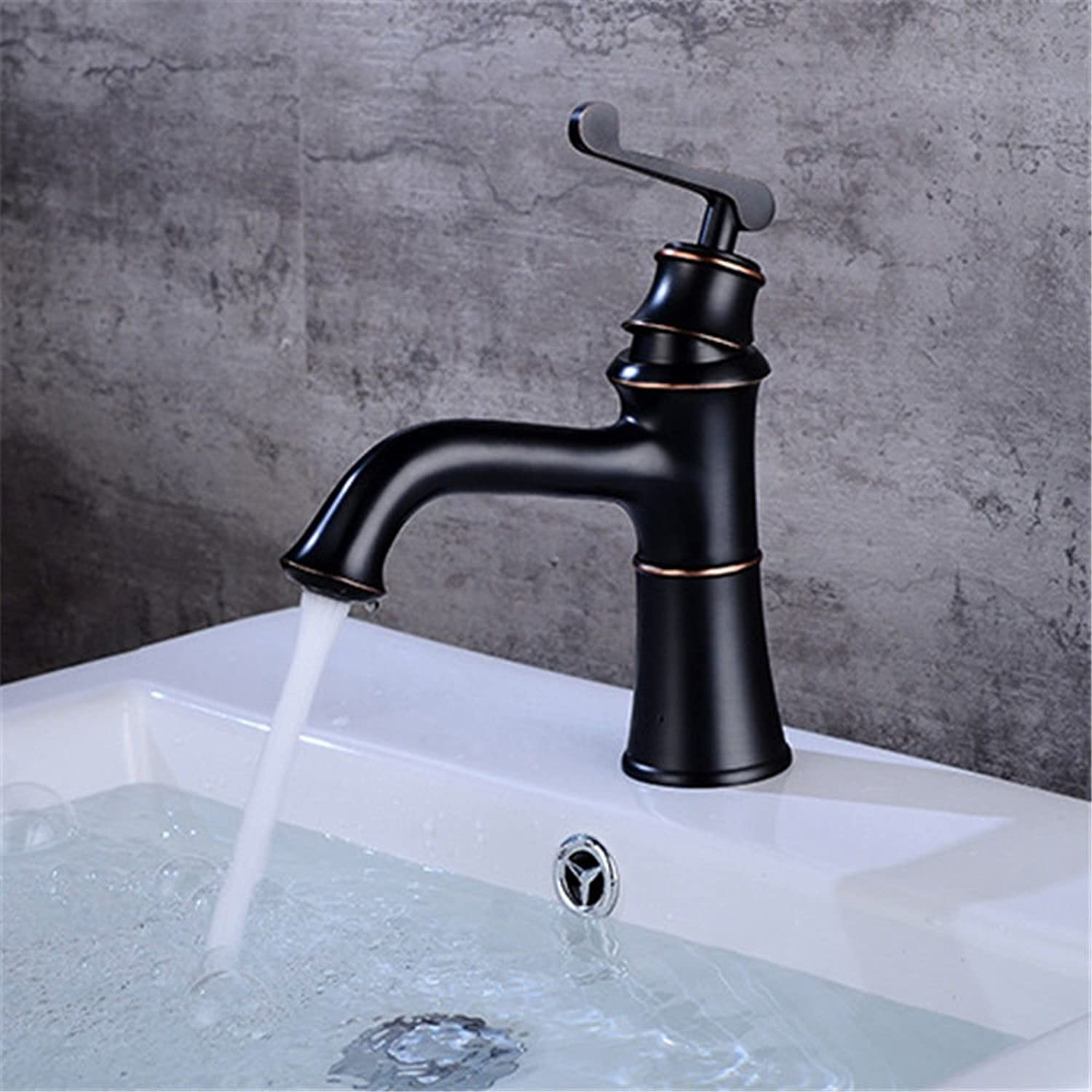 Gyps Faucet Single-Lever Washbasin Mixer Tap Black Wash Basin Tap and Cold Water on Sink Single Hole Sink Mixer Tap