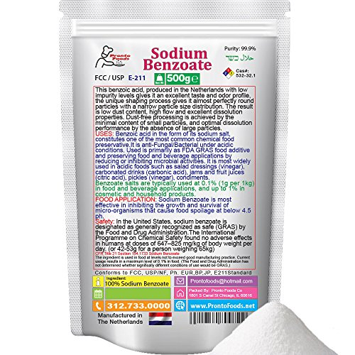 Sodium Benzoate, Preservative, Made In the Netherlands,, 500g (1.1 lbs)