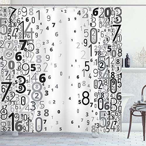 ABAKUHAUS Modern Duschvorhang, Mathematisch Bild Zahlen, Wasser Blickdicht inkl.12 Ringe Langhaltig Bakterie & Schimmel Resistent, 175 x 200 cm, Weiß & Schwarz