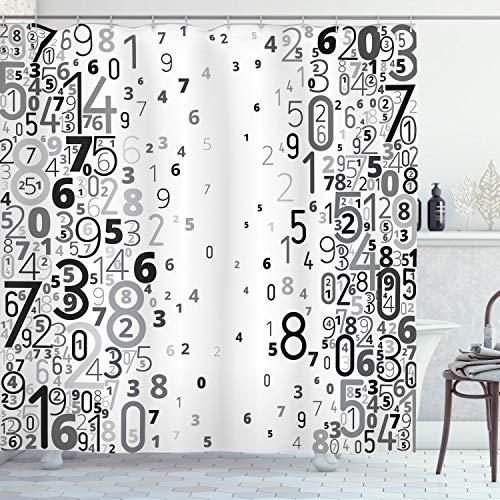 ABAKUHAUS Modern Duschvorhang, Mathematische Zahlen Bild, Set inkl.12 Haken aus Stoff Wasserdicht Bakterie & Schimmel Abweichent, 175 x 200 cm, Schwarz-weiß