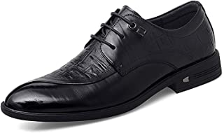 CAIFENG Oxfords Dress Shoes para Hombres Puntiagudos de Punta cocodrilo en Relieve en Relieve 3 Ojos Encaje Arriba Bloque ...