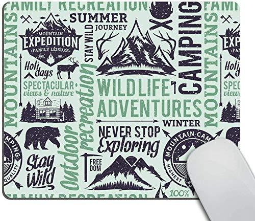 Cojín de ratón para acampar personalizado.montaña de estilo retro con animales y citas Protector de escritorio para aventuras al aire libre Alfombrilla de ratón-7.9x9.5in