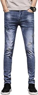 Zomer heren klassieke halfhoge gewassen slanke jeans, persoonlijkheid gescheurde gaten, eenvoudige en modieuze straatbroek