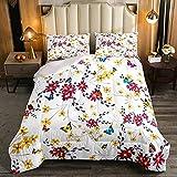 Juego de edredón floral de 2 piezas, flores amarillas con juegos de cama de mariposa para niños adolescentes, ropa de cama de fantasía, edredón para niños y niñas, dormitorio individual