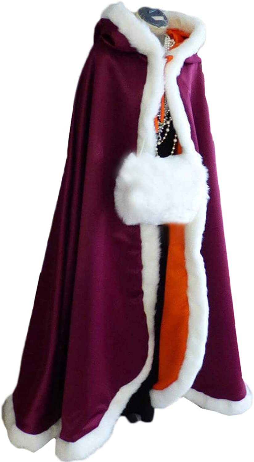 Wedding Cape with Fur Trim Hooded Winter Clock for Bride Two-sided Wear Free Hand Muff Floor-length