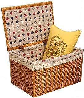 Nfudishpu Panier de rangement tissé à la main Étoile Imprimer avec couvercle Décoration Boîte de rangement à la maison Pan...