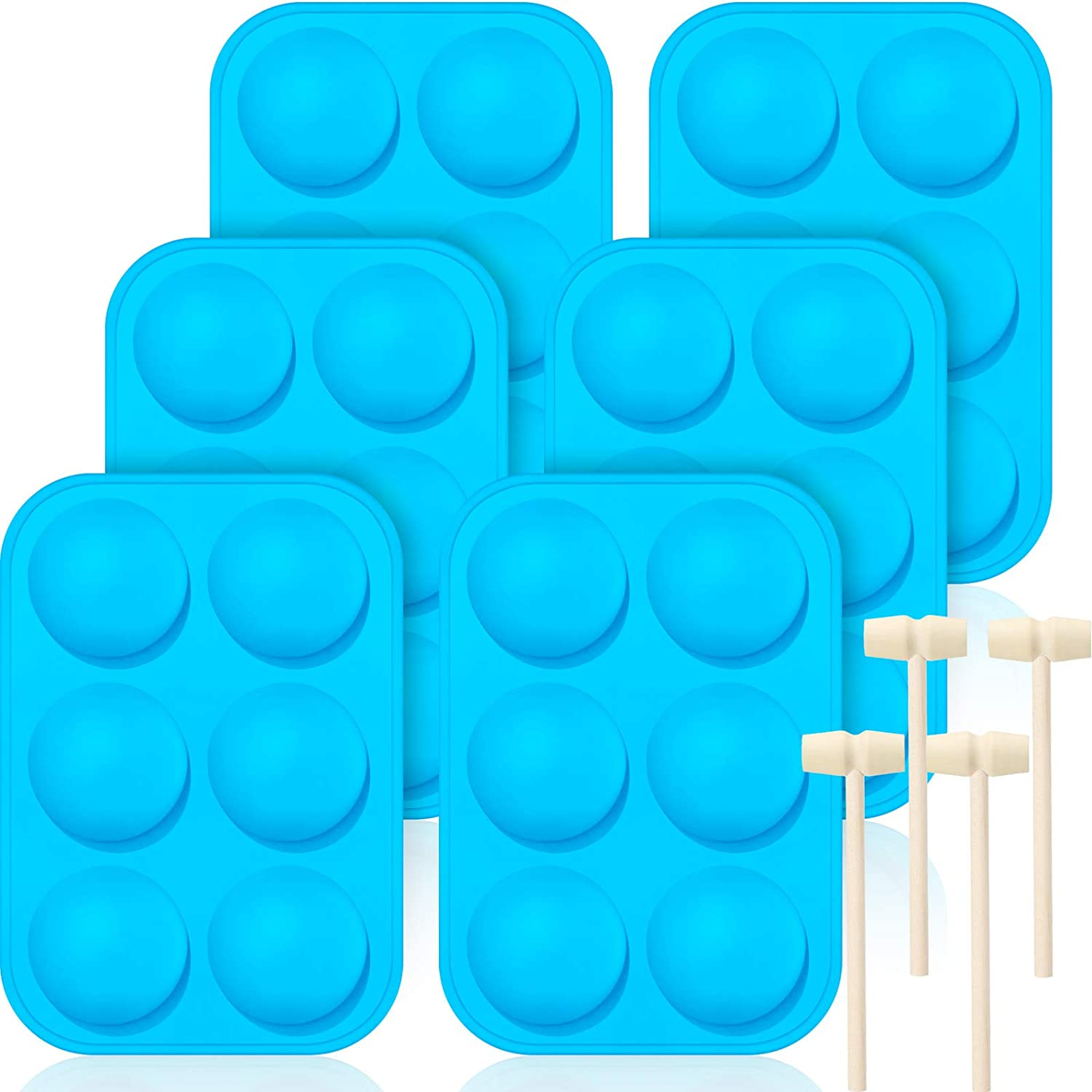 Cake Jelly Blue 6 Pieces Semi Sphere Silicone Molds for Chocolate,Large Half Round Sphere Silicone Molds Hemisphere Sphere Baking Molds with 4 Pieces Wooden Hammers for Chocolate