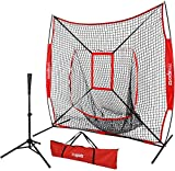 ZENY 7' x 7' Baseball Softball Practice Hitting Pitching Net with Strike Zone Target + Batting Tee,Carry Bag,Practice Equipment Batting Soft Toss Training Set
