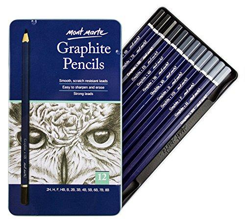 Mont Marte Künstler Graphitstifte Set – 12 Stück – Zeichenstifte, Bleistifte, Zeichenbedarf, Künstlerstifte – Ideal für Skizzen und detaillierte Zeichnungen