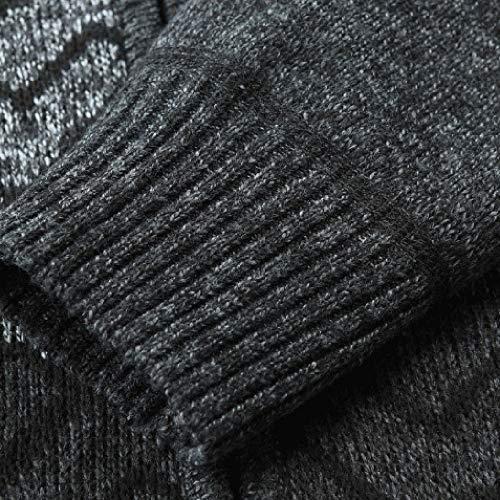 TWGONE Men's Autumn Winter Solid Zipper Jacket Knit Cardigan Long Sleeve Outwear Coat(Large,Dark Gray)