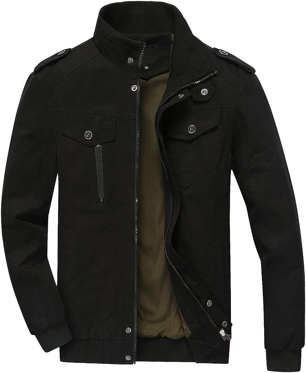 chouyatou Men's Casual Long Sleeve Full Zip Lightweight Cotton Bomber Jacket
