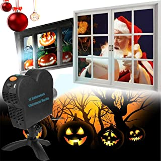 Window Projector Light, Christmas 12 Movies Wall Projection Decoration Spotlight Outdoor Halloween Party Turns Your Window...