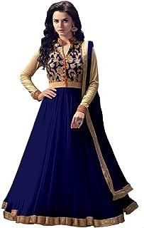 Rahi Fashion Women's Navy Net Anarkali Embroidered Semi-stitched Salwar Suit Dupatta Material