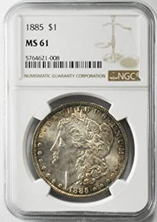 1885 P Morgan Silver Dollar Brilliant Uncirculated AZL15 $1 MS61 NGC
