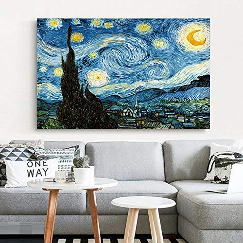 Modern Leinwand Malerei Elegante Poesie Sternennacht von Vincent Van Gogh Berühmter Künstler Kunstdruck Poster Wandbild Ölgemälde Home Wall Decor 50 * 75cm