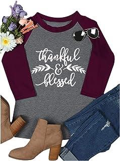 MK Shop Limited Women Cute Graphic Print Shirt Casual Letter Print Splicing Raglan 3/4 Sleeve Tee Top Blouse
