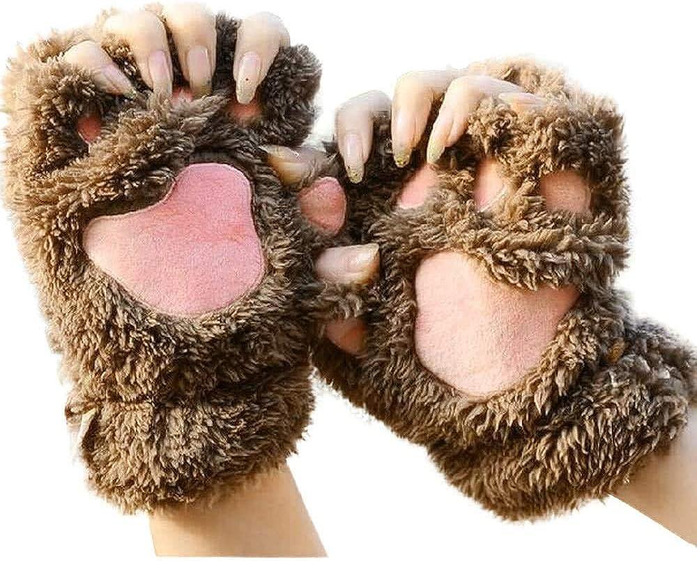 Cat Paw Gloves Girls Winter Plush Faux Fur Cute Kitten Fingerless Mittens - Women Kitty Fursuit Anime Furry Sloth Claw Gloves