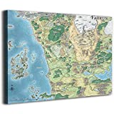 Dungeons & Dragons Sword Coast Map Poster Canvas Pictures For Bedroom Canvas Art Wall Decor For Living Room Cow Pictures Wall Decor Canvas 36x24inch