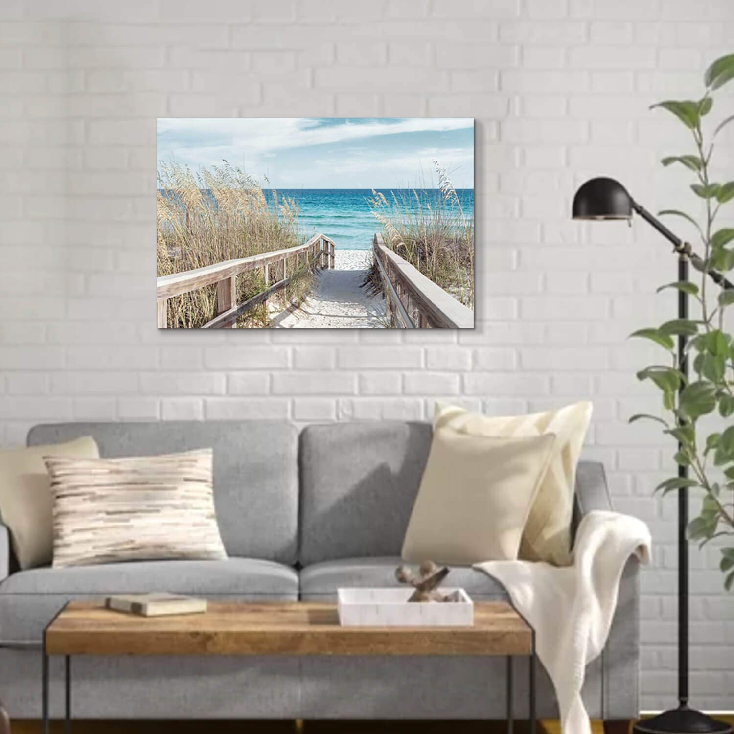 Seascape Painting Fence Pathway Picture Print on Canvas for Bedroom /… 36 x 24 x 1 Panel Beach Artwork Seaside Wall Art