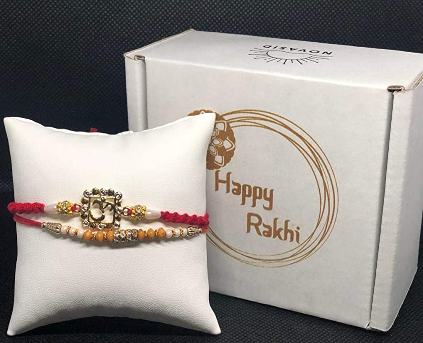 Rakhi Set for Bhaiya/Brother, Bhabhi on Indian Rakhi Rakshabandhan Festival, Rakhi Threads/Rakhi Bracelets/Rakhi for Brother, Rakhi for Kids, Best Gift Rakhi Bands for Brother - in a Fancy Gift Box.