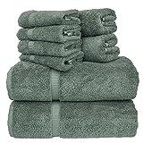 Chakir Turkish Linens Dobby Border Luxury Hotel & Spa Turkish Cotton Bundle Total 8-Piece Set, 2 Bath 27'X54', 2 Hand Towel 16'X30', 4 Washcloth 13'x13', Set of 8 (Gray)