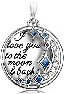 Christmas Charms Gifts 925 Sterling Silver Dangle Charms for Bracelets Necklace 3D Vivid Pendant Charm for Her Engraved with I Love You to the Moon and Back